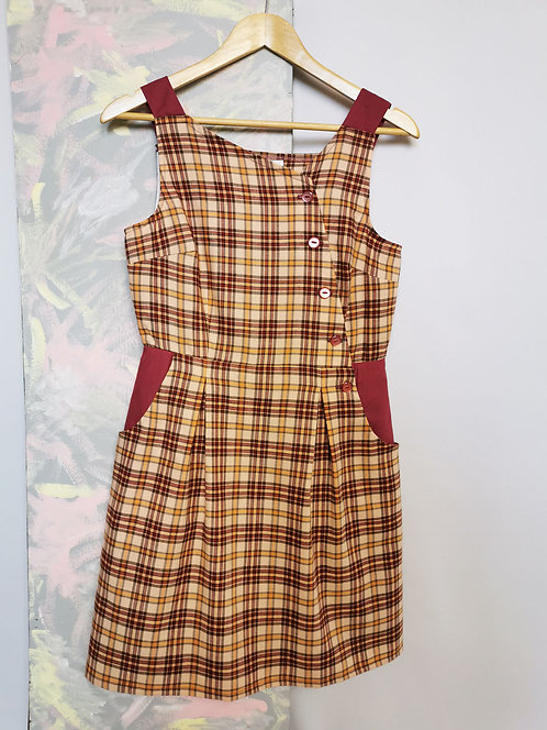 Pink and Gold Check Pinafore Dress -Size 12