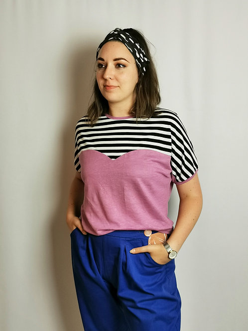 Monochrome Stripe Heart T-Shirt - Size M