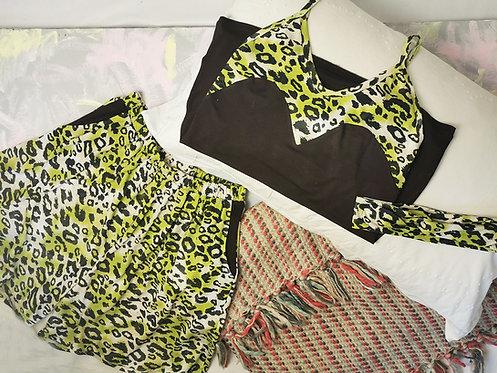 Lime Leopard Print Pyjama Set - Size S