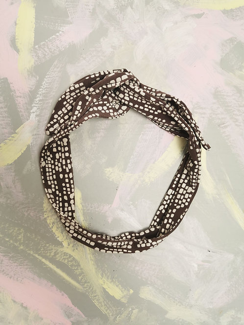 Knotted Headband - Brown Dashes