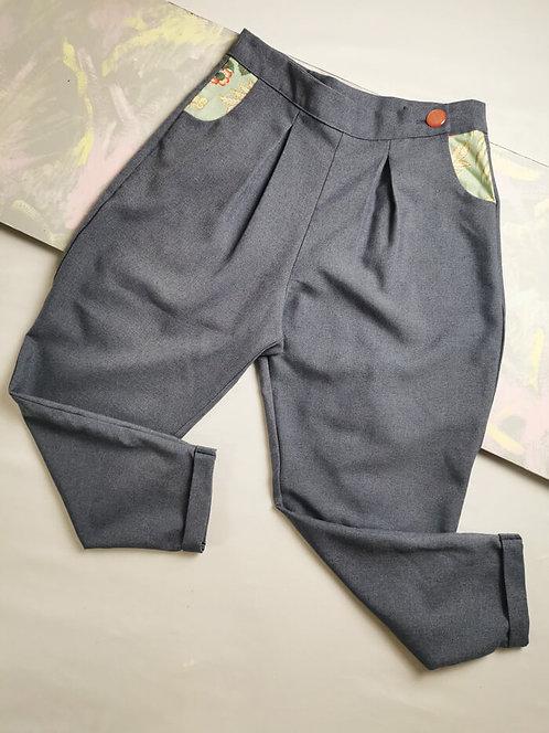 Denim Blue Peg Leg Trousers - Size 14