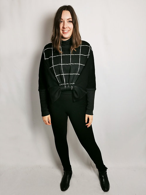 Black Check Roll Neck Loophole Jumper - Size M