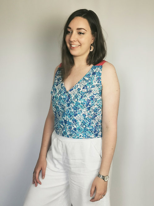 Blue Floral Daydreamer Top - Size M