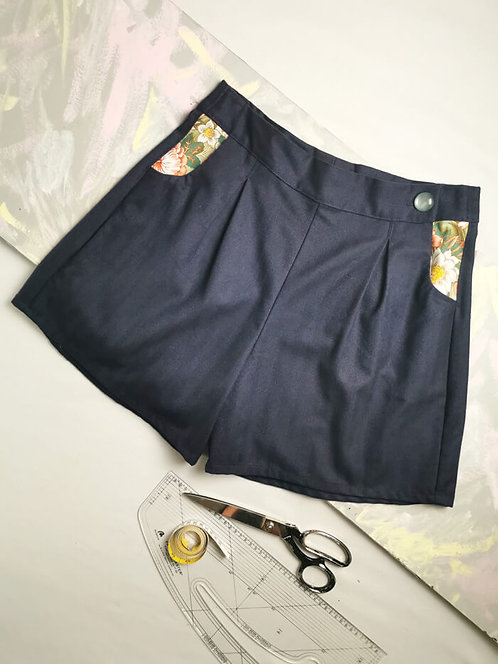 Navy High Waisted Shorts - Size 14