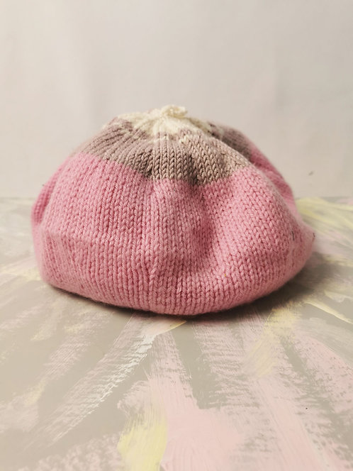 Handknitted Beret - Pink and Grey