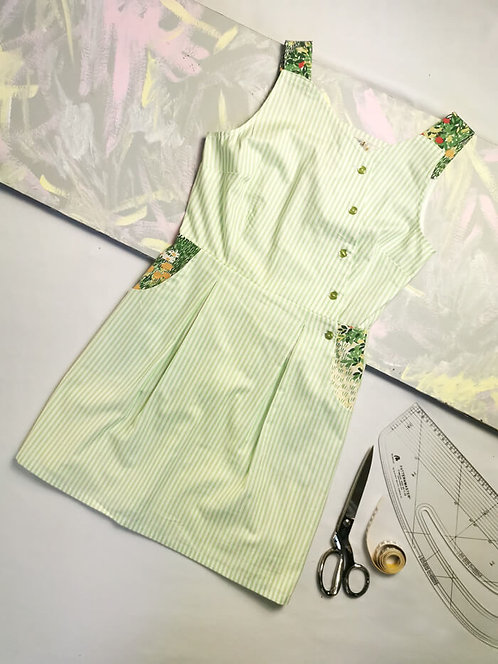 Green Ticking Stripe Pinafore Dress -Size 10