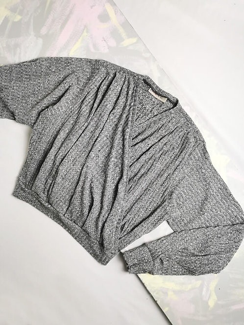 Grey Knit Dream Wrap Top - Size M