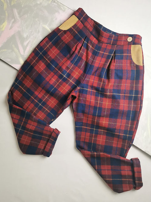 Wine Tartan Peg Leg Trousers - Size 12