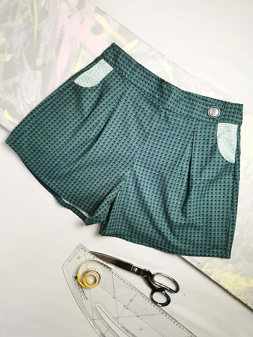 Teal Checked High Waisted Shorts - Size 14