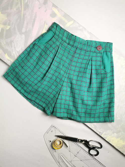 Mint Check High Waisted Shorts - Size 10