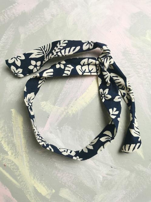 Twisty Wire Headband - Navy Tropical