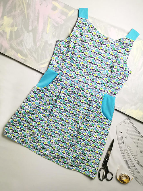 Blue Retro Pinafore Dress -Size 16