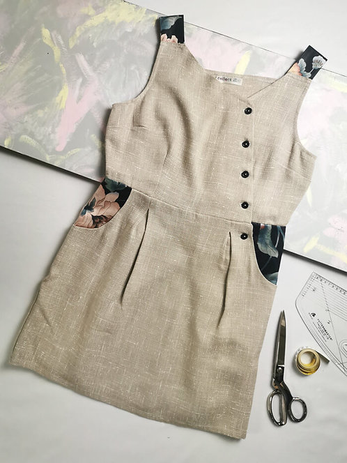 Neutral Weave Pinafore Dress -Size 16