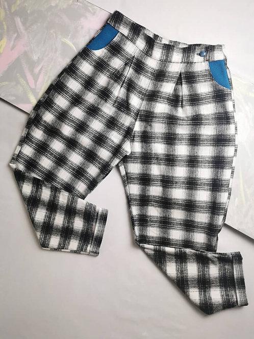 Monochrome Check Peg Leg Trousers - Size 14