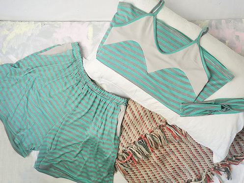 Mint Stripes Pyjama Set - Size M