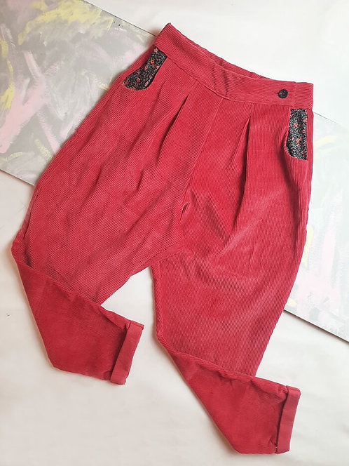 Red Corduroy Peg Leg Trousers - Size 10