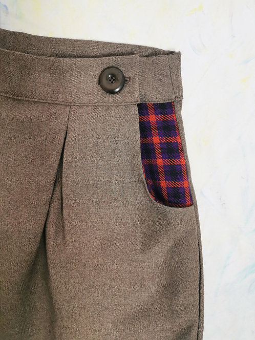 Brown Suiting Peg Leg Trousers - Size 18