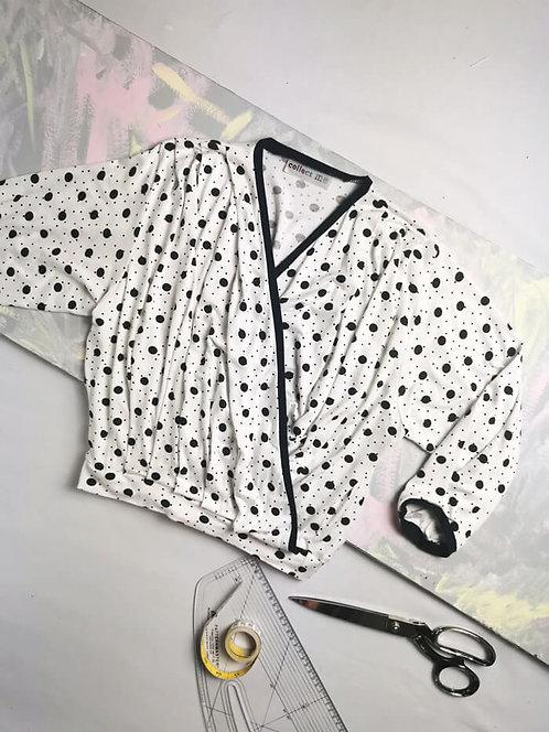 Monochrome Spots Dream Wrap Top - Size S