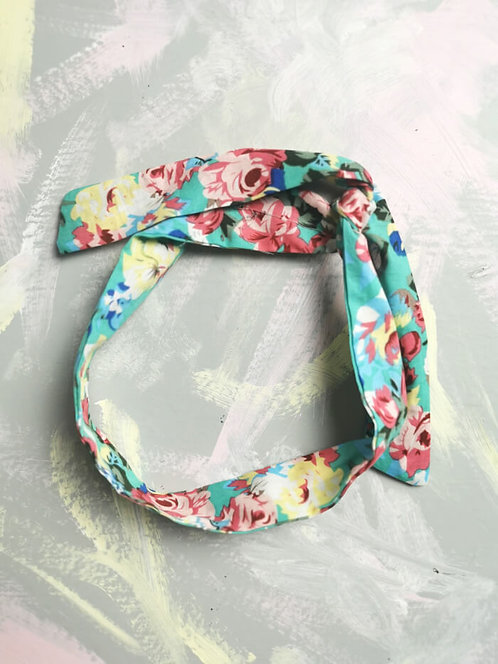 Twisty Wire Headband - Turquoise Floral