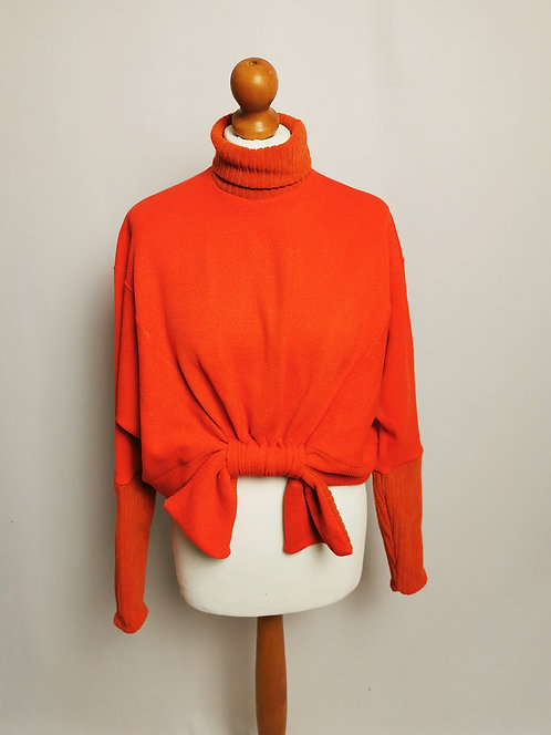 Vibrant Orange Roll Neck Loophole Jumper - Size S