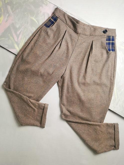 Pink Tweed Peg Leg Trousers - Size 16