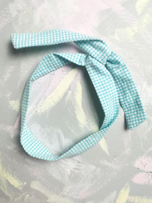 Twisty Wire Headband - Turquoise Gingham