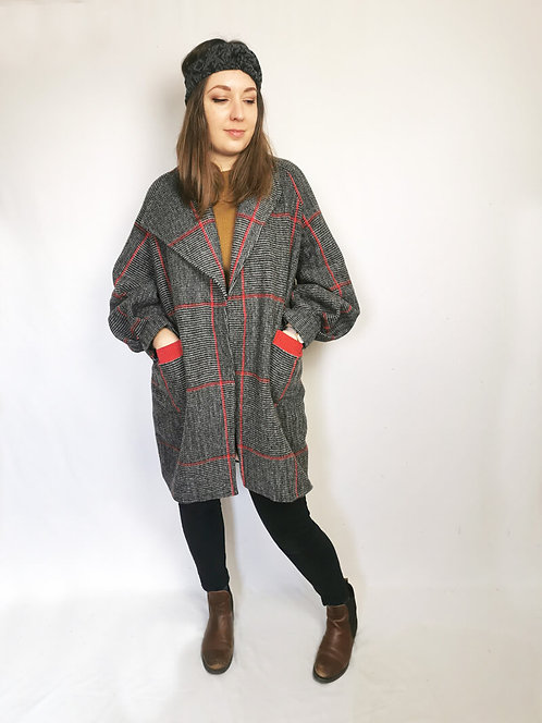 Red Check Cocoon Coat - Size M/L