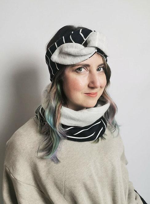 Cosy Organic Cotton Fleece Snood - Navy Stripes
