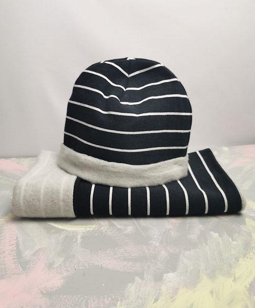 Organic Cotton Beanie and Snood Set - Navy Stripes