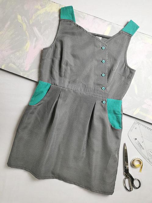 Dogtooth Pinafore Dress -Size 18