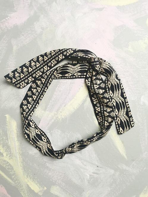 Twisty Wire Headband - Monochrome Aztec