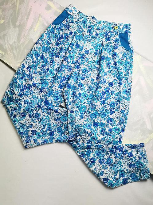 Blue China Peg Leg Trousers - Size 10