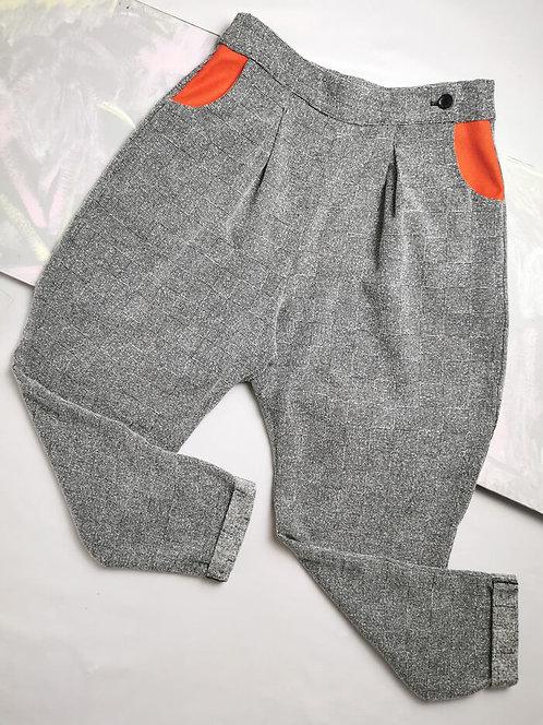 Grey Textured Peg Leg Trousers - Size 12