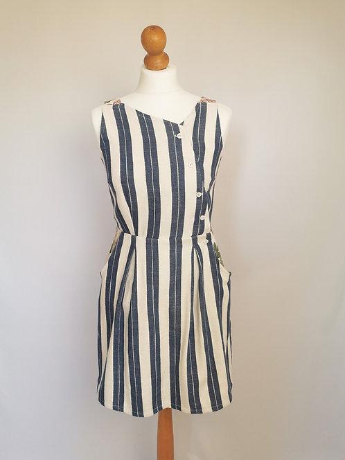 Beach Stripes Pinafore Dress -Size 8