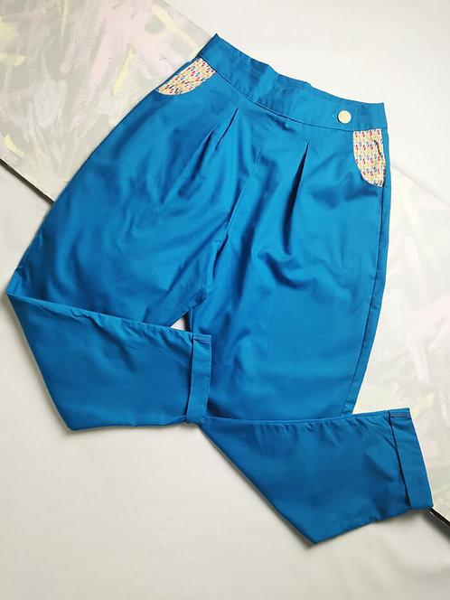 Bright Blue Peg Leg Trousers - Size 10