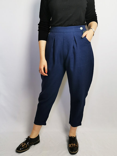 Navy Suiting Peg Leg Trousers - Size 14