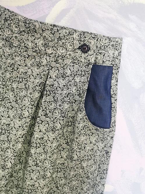 Green Floral Peg Leg Trousers - Size 10