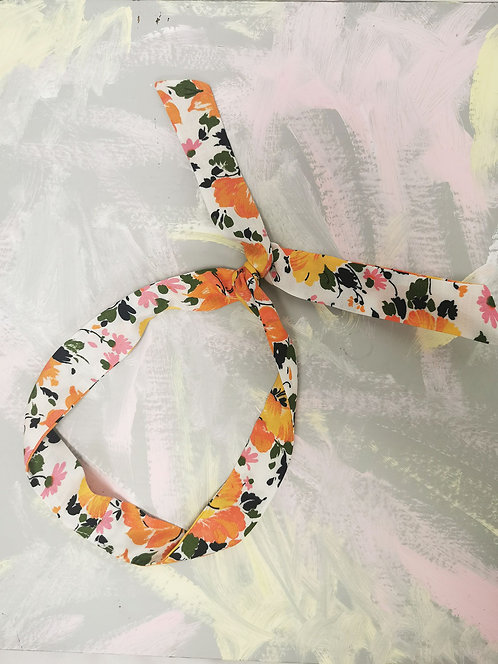 Twisty Wire Headband - Orange Floral