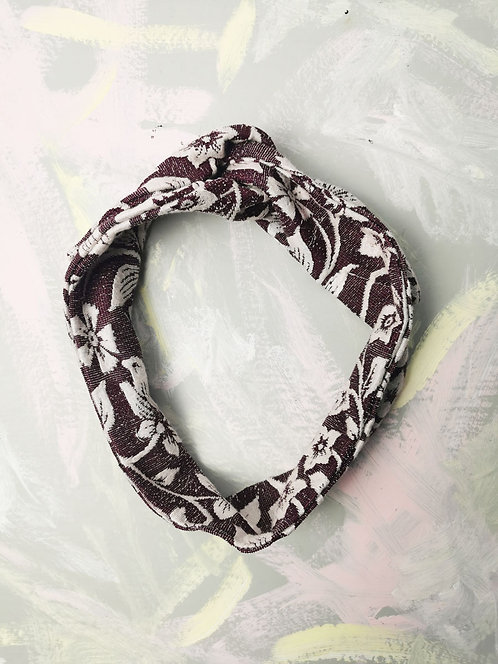 Cosy Knotted Headband - Burgundy Flowers
