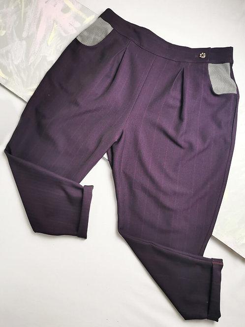 Purple Pinstripe Peg Leg Trousers - Size 20