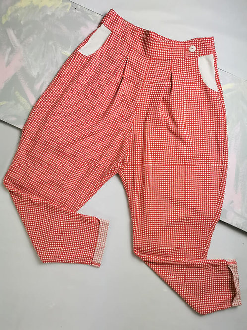 Red Dogtooth Peg Leg Trousers - Size 10