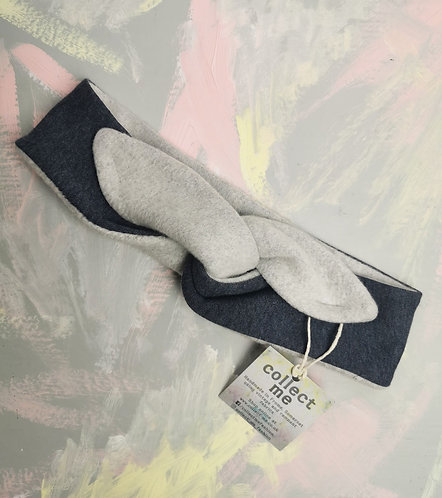 Cosy Organic Cotton Fleece Headband - Denim Blue