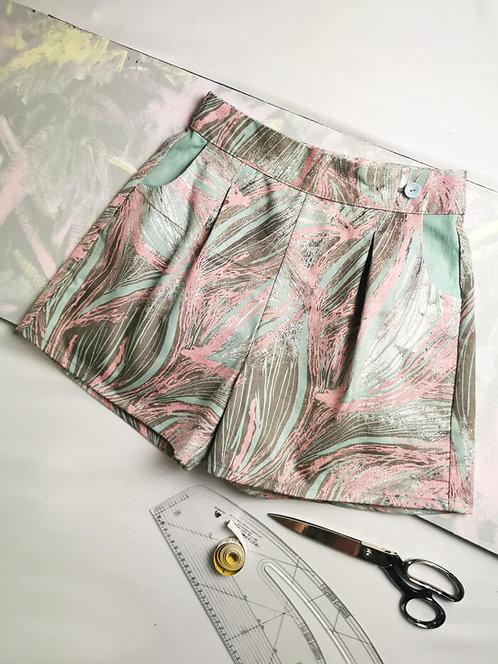 Pastel Brushstrokes High Waisted Shorts - Size 10
