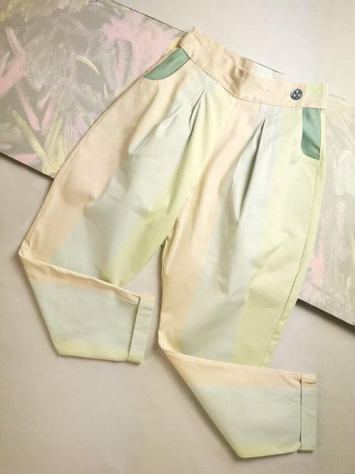 Pastel Stripes Peg Leg Trousers - Size 8