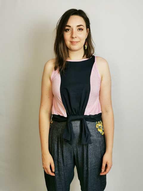 Pink Gingham Loophole Vest - Size S