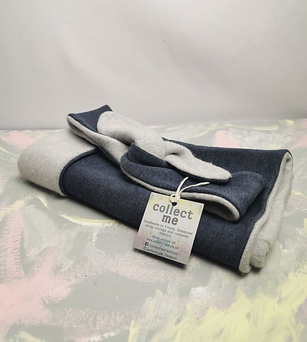 Organic Cotton Headband and Snood Set - Denim Blue