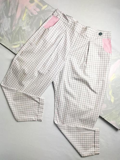 Pink Check Peg Leg Trousers - Size 16