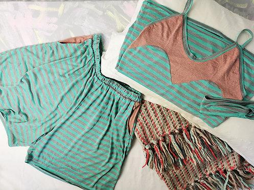Mint Stripes Pyjama Set - Size S