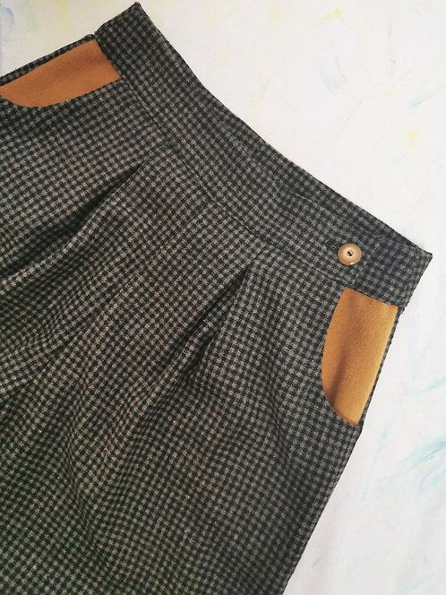 Grey Check Peg Leg Trousers - Size 10