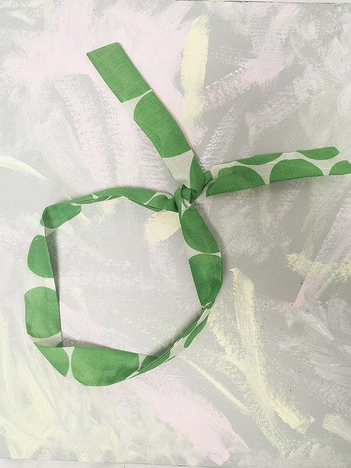 Twisty Wire Headband - Green Circles